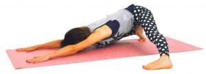 ゆっくりと両手を前に歩かせ、額を床につけて(向けるだけでもOK)、脇腹から下半身をストレッチします