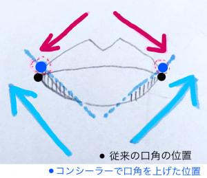 下唇を真ん中にして図の矢印の方に向かって斜め上に引き上げます。そのあと、上唇も図の矢印のようにつけます