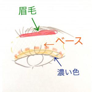 目と眉毛の幅を狭める