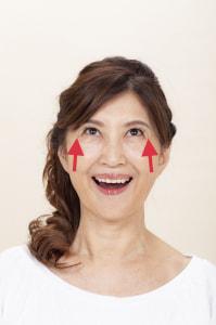 口の形はそのままで、頬筋だけを上に動かします。目線は上に、一緒に目の下側も上に向けて動かします。「アップップー」と3回声に出しましょう