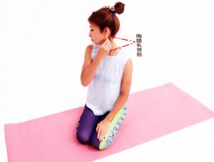 ラクな姿勢で座り、顔を右側に傾けます。左側の「胸鎖乳突筋」を指でつまみ、引っ張るようにしながら筋膜をゆるめます