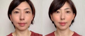 左が素顔、右がチークを入れたところ。肌に自然に馴染んで、柔らかな印象に仕上がります