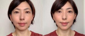 左が素顔、右がチークを入れた画像になります。頬がすっきりとして小顔に見えるうえ、不健康に見えません