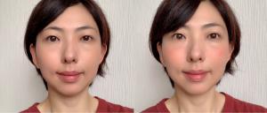 左が素顔、右がチークを入れた画像になります。ポッと上気したような自然な血色とツヤが感じられます