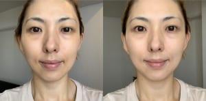 画像左が下地を塗る前、右が下地を塗った後になります。ツヤのあるつるんとした質感の肌に整っています