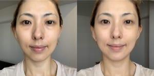 画像左が下地を塗る前、右が下地を塗った後になります。明るくツヤのある健康的な肌色に見えます