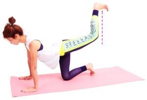 ゆっくり吐く息とともに左ひざを上に押しあげ、「かかとで天井をけりあげる→吸う息とともにひざを腰の高さまで下げる」この動作を8回×1セットを目安に繰り返してください