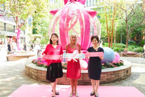 ピンク色のニットが丸の内を包む!乳がんキャンペーン開催