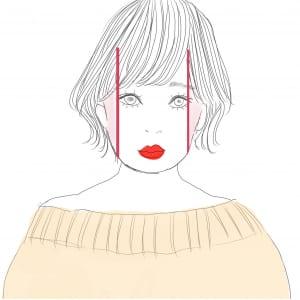 丸い顔のタイプは、横幅を狭くしてたて長に見せることでバランスが良く見えます。フェイスラインにシェーディングを入れましょう