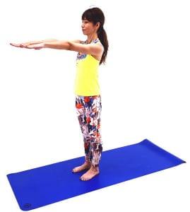 手の平を床に向け、両手を肩の高さで伸ばします