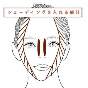 そして、シェーディングは鼻の側面と目尻より外側部分に入れていきます