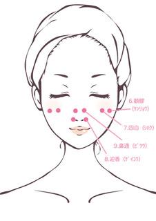 ツボは顔の左右対称にありますので、両方を押すようにしてください