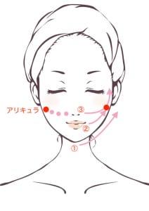 鼻の横〜アリキュラ(奥歯をかみしめると動く部分)までのほお骨の下のくぼみを、下から上げるようにマッサージ&プッシュします。最後に、くるくると円を描くようにマッサージしてください