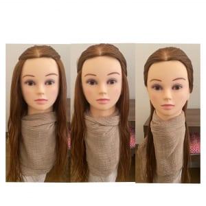 上記3パターンのように、髪を縛る位置で顔の大きさも違って見えます。顔の全面が出るよりも髪のフレームラインがあった方が小さく見えるのがわかります