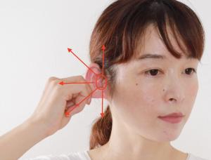 親指と人差し指の2本を使って耳の根本を挟みます。耳の根本から少しずつ位置を変えて指を放射状にスライドして耳を引っ張ります