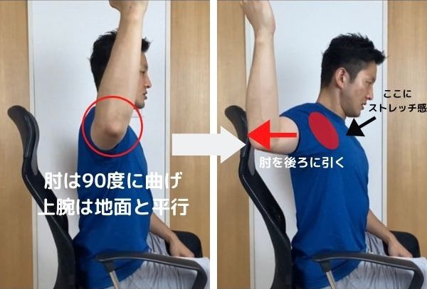 肘を上げた状態から、肘を後ろに引きます。引ききったら、1カウントして(1)の状態に戻します。これを15回程度繰り返しましょう。反対側も同じように行ってください。