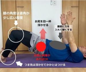 仰向けに寝転がり、両膝を立てます。足幅は腰幅に広げてください。肩幅に広げすぎたり、脚をピッタリとくっつけないようにしましょう