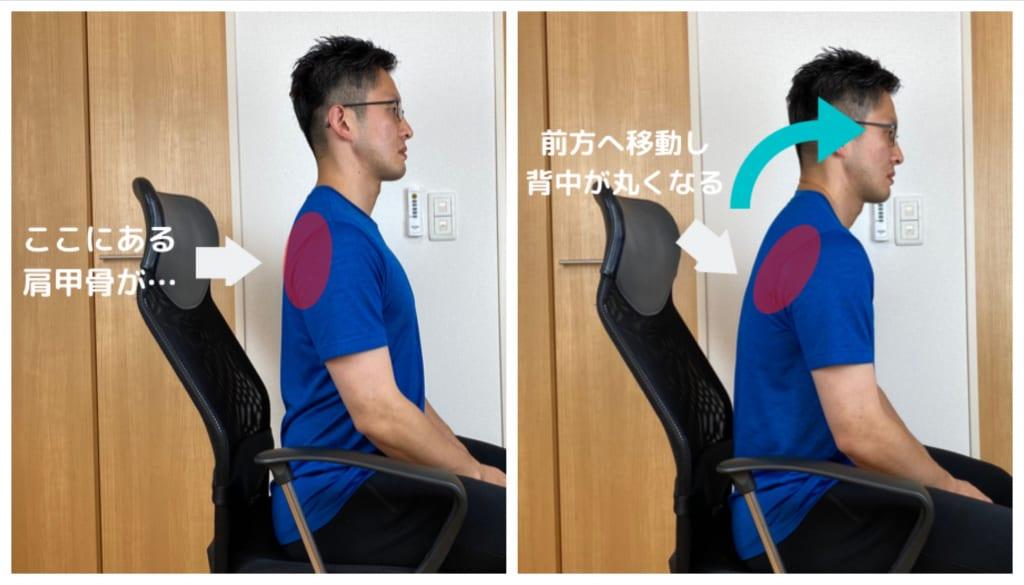 さらに、肩甲骨が前側に移動することでより背骨は前側に丸まり、首は前側に移動してしまいます