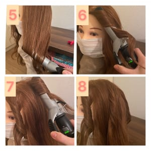 次に、最初に分けた上の髪を縦に二等分し、毛先だけ内に巻きます(画像5)