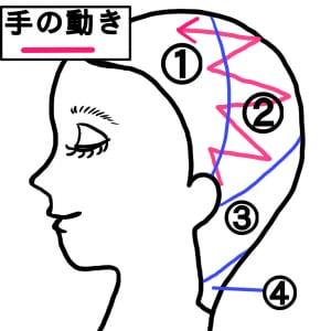 次に、(2)の列です。耳後ろからスタートし、中心に向かってこすります。この時、手を大きく動かして最初の1列目に重なるように行ってください