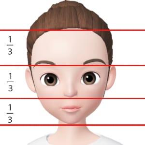 顔の縦幅を見ると、生え際から眉下、眉下から鼻先、鼻先からあご先の幅が均等になっていることが理想的です