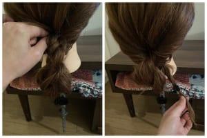 毛先を持ったまま、先程くるりんぱしたところに通します
