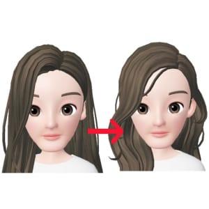 顔周りに短い毛をつくる