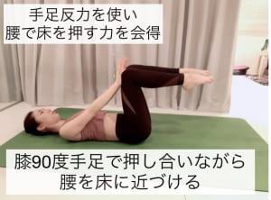 腰がどうしても反ってしまうという方は、写真のように「ニープレッシャー」を行いましょう。手足で押し合う反力を使って腰で床を押します。息を吐きながら膝を5秒間プッシュしてキープします。これを3セットほど行ってください