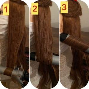こめかみから上と下に髪を分けます。下の部分の髪を、毛先から外、内、外の順に巻き、波ウエーブを作ります。今回はアンニュイな巻き髪なので、巻きすぎないことがポイントです。コテの温度が高いとカールが強くなってしまうため、100度〜140度くらいの温度に設定しましょう。髪質によってカールがつきにくい方はこれより少し高めでも良いかと思います