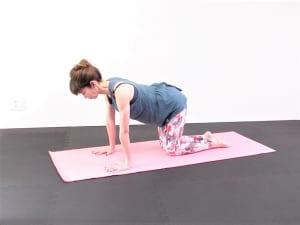 手首の真上に肩、膝の真上に脚の付け根がくるように四つん這いになります。吐く息と共にドローイング(お腹を腰に引寄せる)の状態を作ります
