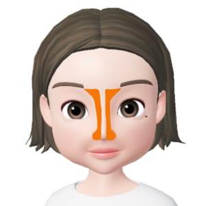 眉頭の下のくぼんだ部分から小鼻の付け根に向かって、真っ直ぐシェーディングを入れます。小鼻全体にも影を入れると立体感がUPして、より鼻が高い印象を演出することができます