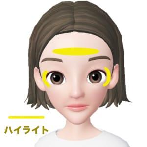 面長さんは鼻筋が通っている場合が多いので、鼻筋にハイライトを入れると縦長を強調してしまいます。そのため、おでこのみにハイライトを入れます。少し横長にいれると、顔の横幅を広く見せることができます