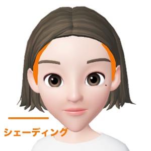 額の横幅が広い逆三角形さんは、両端に影を入れることで横幅を狭く見せることができます。顔の外側から眉尻までの幅に入れるイメージでシェーディングを入れましょう