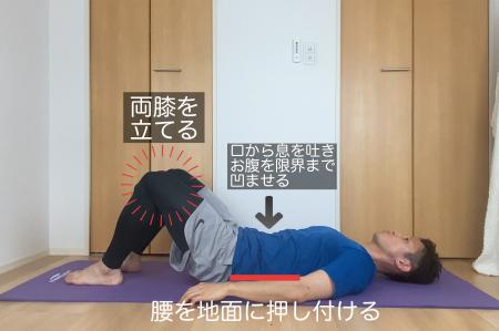 仰向けに寝転がり、両膝を立てます。浮いている腰を地面に押し付けるようにしてください