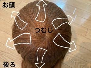 髪はつむじを中心に生えており、大半の方のつむじは1つですが2つや3つある方もいます。つむじは、時計回り(右巻き)と反時計回り(左巻き)に分かれます。世界的にみると圧倒的に時計回りの方が多いのですが、日本人は、半々くらいの割合といわれています