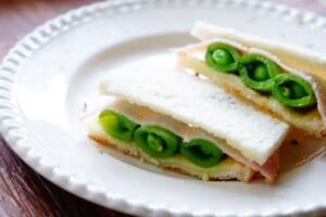 スナップエンドウのサンドイッチ