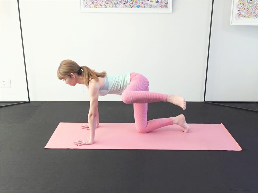 肩の真下に手の平、腰の真下に膝をつけて四つん這いの状態になります。お腹を腰に引寄せ、胸を背中に引寄せて体幹を安定させて、左膝を真横に引き上げます。左膝を「床ギリギリまで下げる」「引き上げる」という動作を5回繰り返します