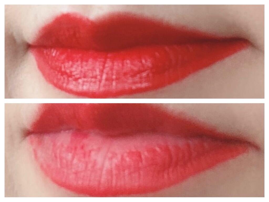 素の唇の色が気にならなくなるほどの高発色。きちんとメイクの時にも活用できるでしょう