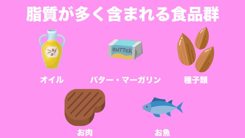 脂質が多く入っている食品