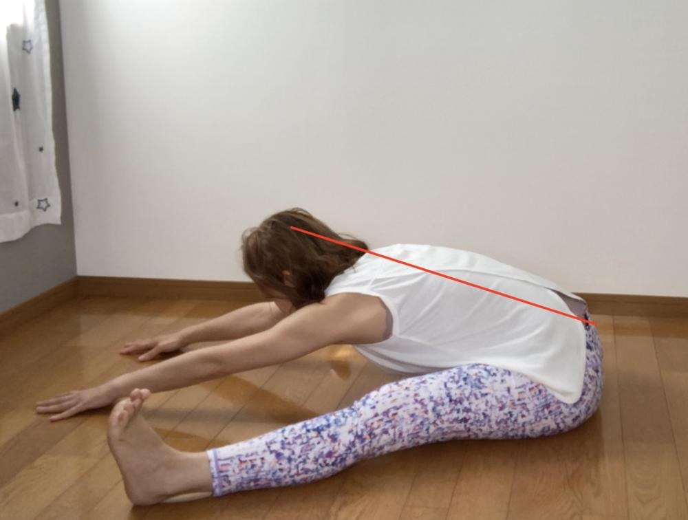 STEP4:上半身を倒したら頭の力を抜いてポーズをキープ