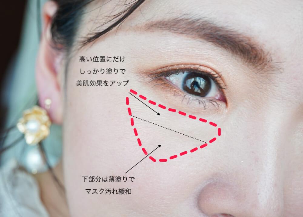 目の下の三角ゾーンにたっぷり塗って美肌見せ