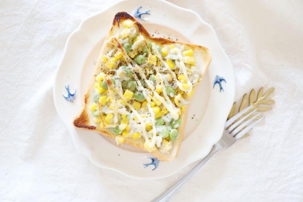 胃腸ケアでキレイの土台を作る!しらす&コーン&枝豆のトースト