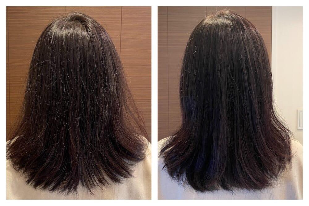 すると、パサつきや広がりといった髪のダメージが軽減され、毛先にもまとまりが出てきた印象です。また、髪全体のツヤも増し、後ろ姿が若返ったような印象もあります。