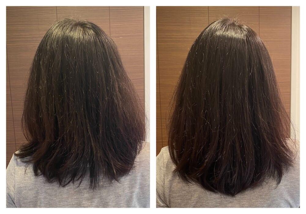 髪質が柔らかく特に毛先にクセが出やすい筆者ですが、今回の検証の結果髪のツヤ感が増し毛先までまとまりが出た印象があります。