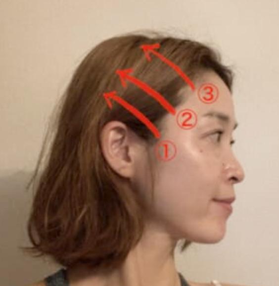 最初は耳の付け根部分(1)を10回動かし、そこから手を少し後ろにずらして再度10回ぐりぐりと動かします。また少し後ろにずれて10回ぐりぐりと動かします