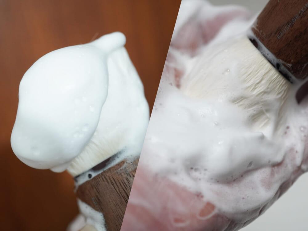 洗顔料をつけて手のひらで円を描くように泡立てると、濃密な泡を簡単に作ることができます。穂先でくるくるとマッサージするようにソフトに肌を洗うだけで、ディープクレンジングが叶います