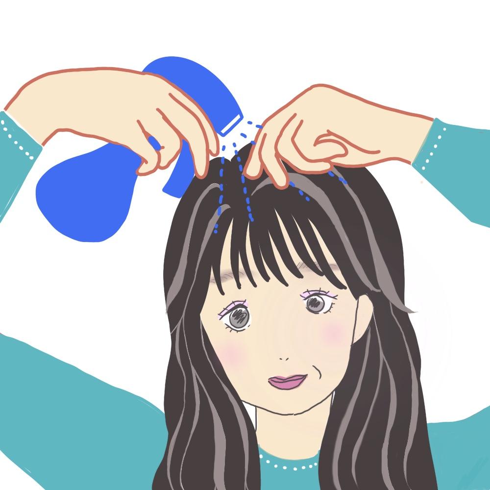 STEP1:前髪を水でぬらす