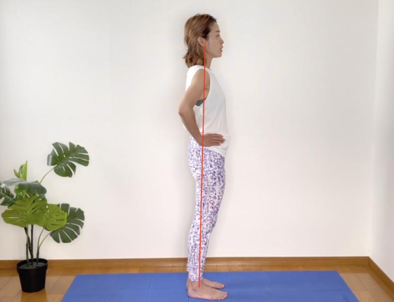 「反り腰」とは名前の通り、腰が反っている状態をいいます。正しい立ち方は、外くるぶし、大転子(太ももの付け根の外側)、肩、耳が一直線になります
