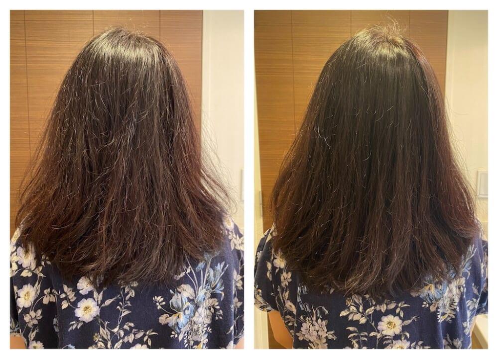 ダメージが気になる状態で使用し検証したところ傷みが軽減され、髪にまとまりとツヤが出た印象があります。また、根元からふんわりと髪が立ち上がり、髪全体がボリュームアップしたような仕上がりになりました。