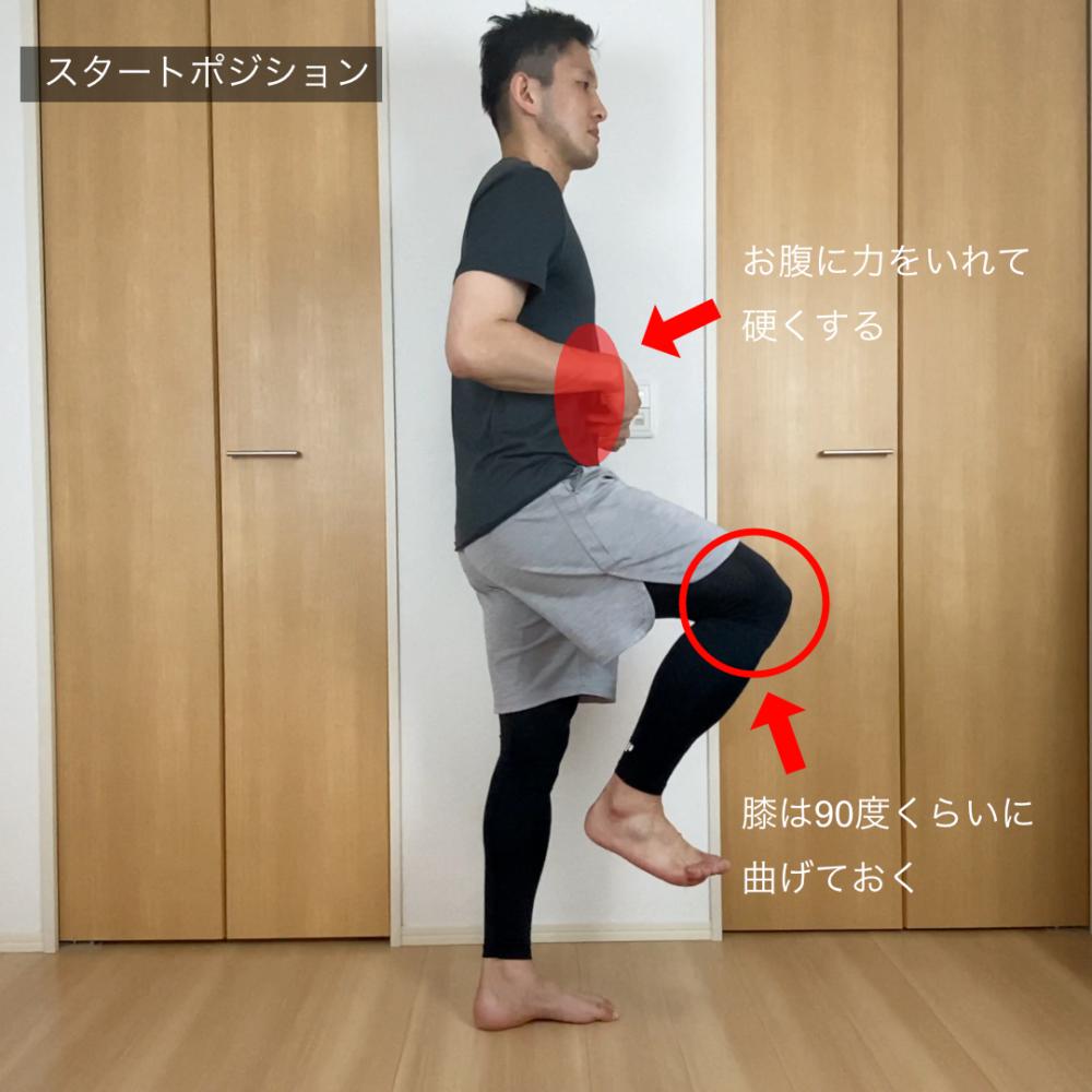 右脚を上げ、左脚で立ちます(手を壁についてもかまいません)。軽く腰を反らしてから、腹筋に力を入れ硬くします